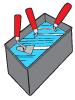 Очиститель для бетона. Замачивание инструмента в очистителе для бетона.